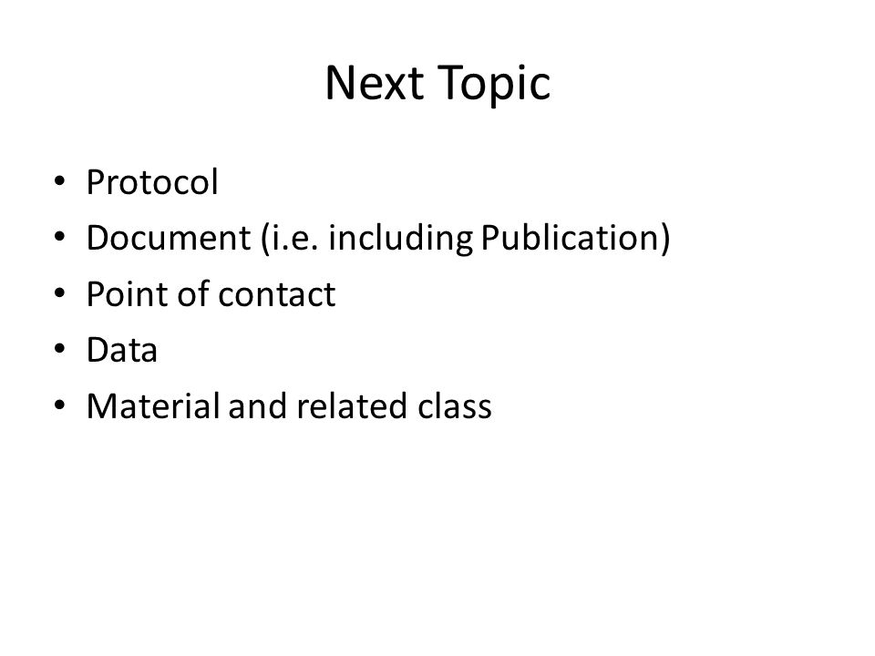 Next Topic Protocol Document (i.e.