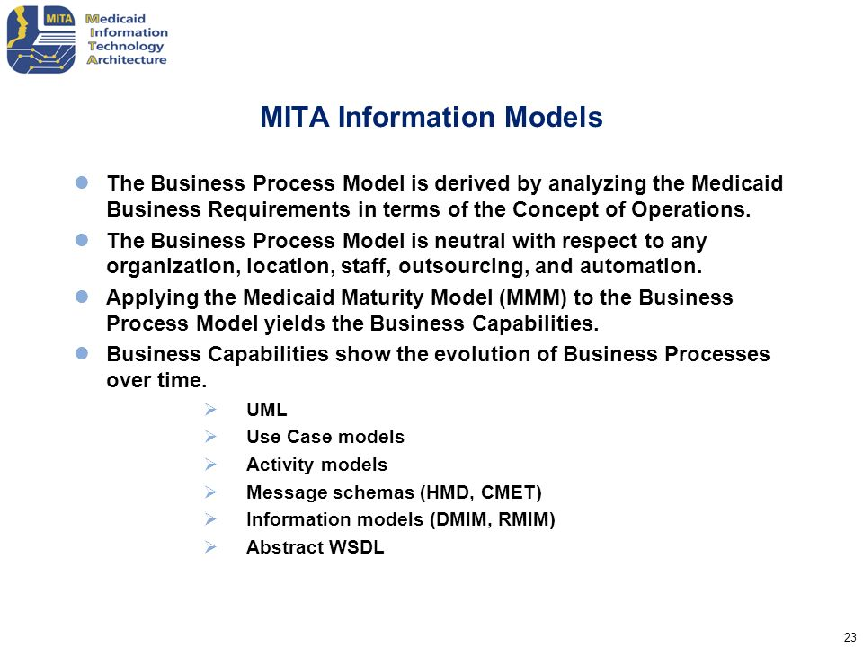 23 MITA Information Models The Business Process Model is derived by analyzing the Medicaid Business Requirements in terms of the Concept of Operations