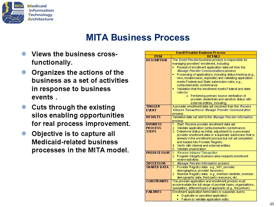 49 MITA Business Process Views the business cross- functionally. Organizes the actions of the business as a set of activities in response to business