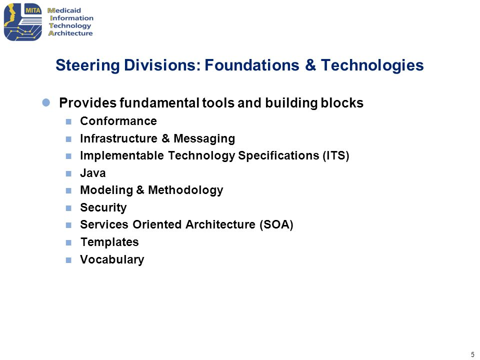 5 Steering Divisions: Foundations & Technologies Provides fundamental tools and building blocks Conformance Infrastructure & Messaging Implementable T