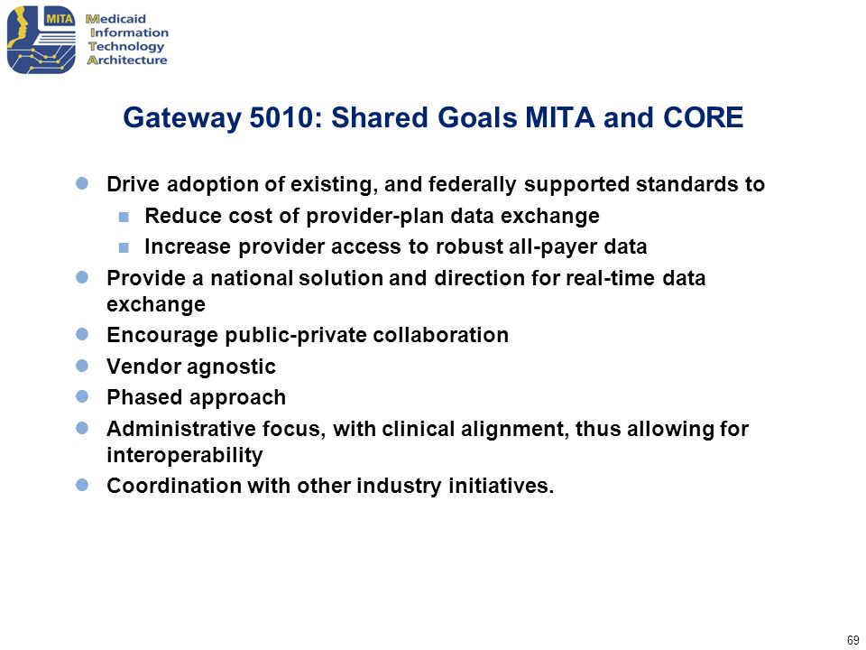 69 Gateway 5010: Shared Goals MITA and CORE Drive adoption of existing, and federally supported standards to Reduce cost of provider-plan data exchang