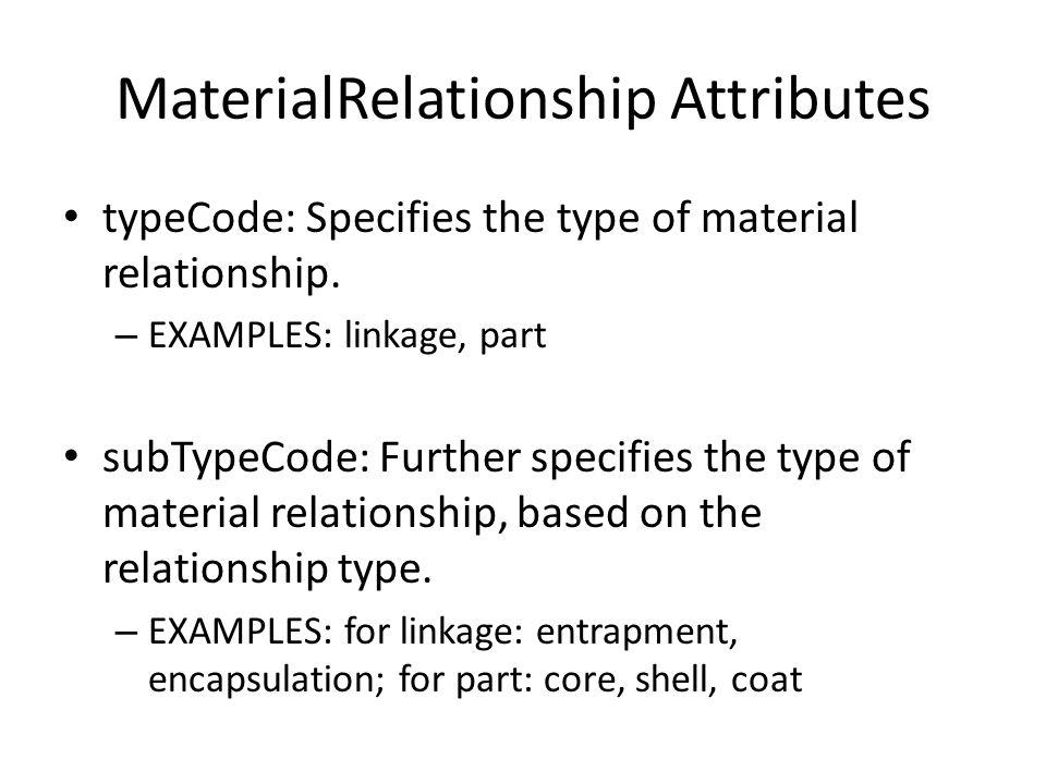 MaterialRelationship Attributes typeCode: Specifies the type of material relationship.