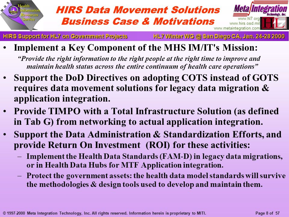 Page 8 of 57 HIRS Support for HL7 on Government ProjectsHL7 Winter WG @ San Diego CA, Jan.