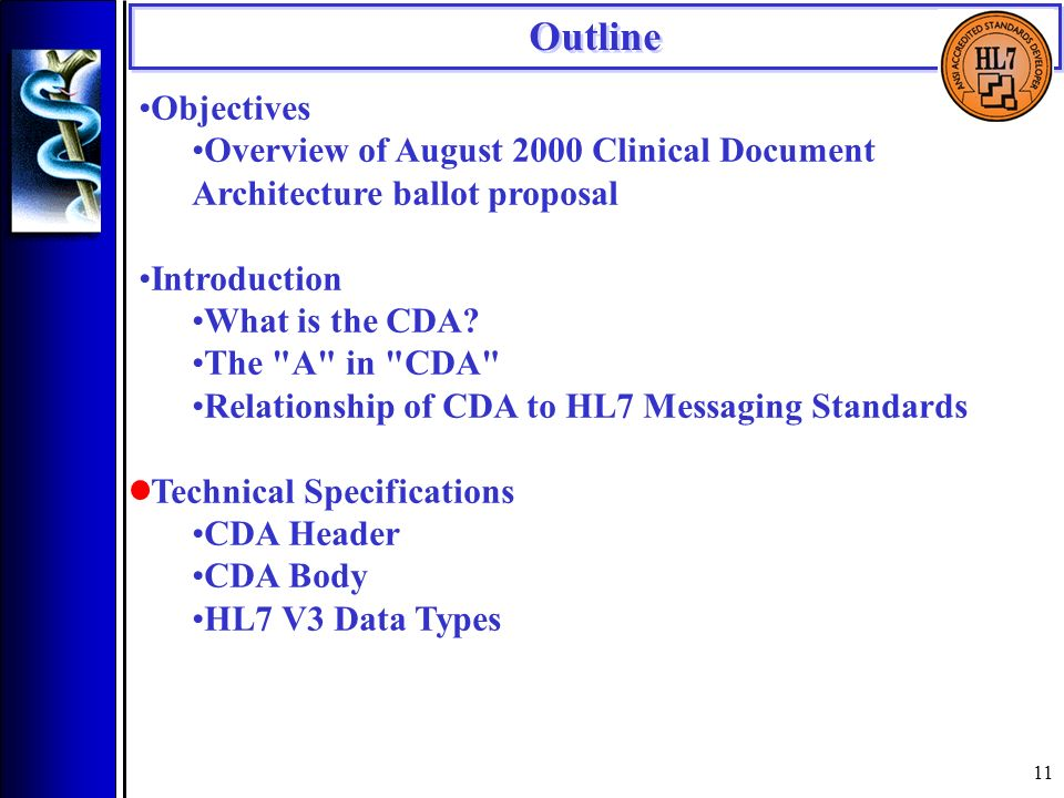 11 Objectives Overview of August 2000 Clinical Document Architecture ballot proposal Introduction What is the CDA.