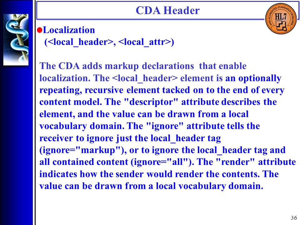 36 Localization (, ) The CDA adds markup declarations that enable localization.