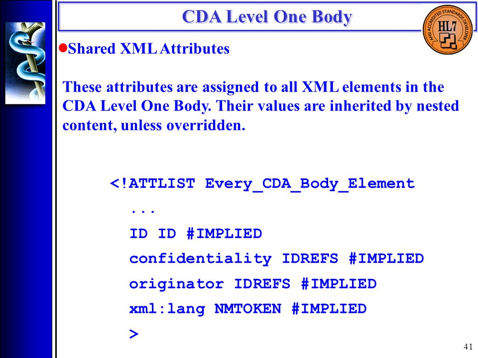 41 CDA Level One Body Shared XML Attributes These attributes are assigned to all XML elements in the CDA Level One Body.