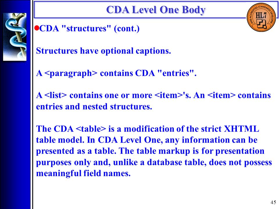 45 CDA Level One Body CDA structures (cont.) Structures have optional captions.