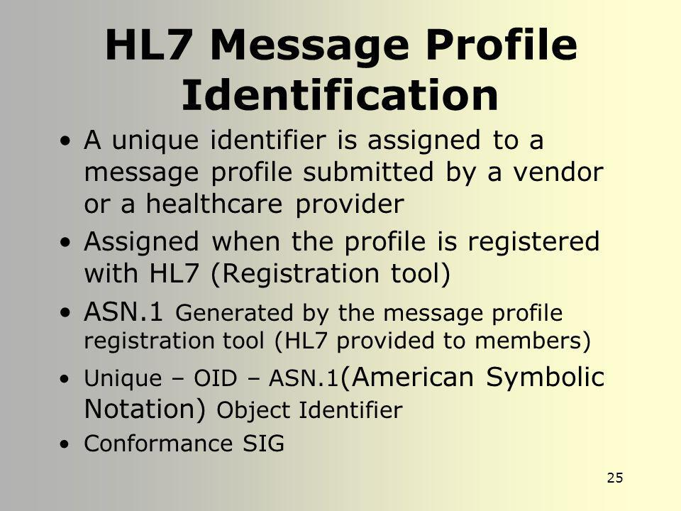 24 Message Profiles are HL7 Conformant A message profile which meets the HL7 standard requirements: all the required segments and fields are specified