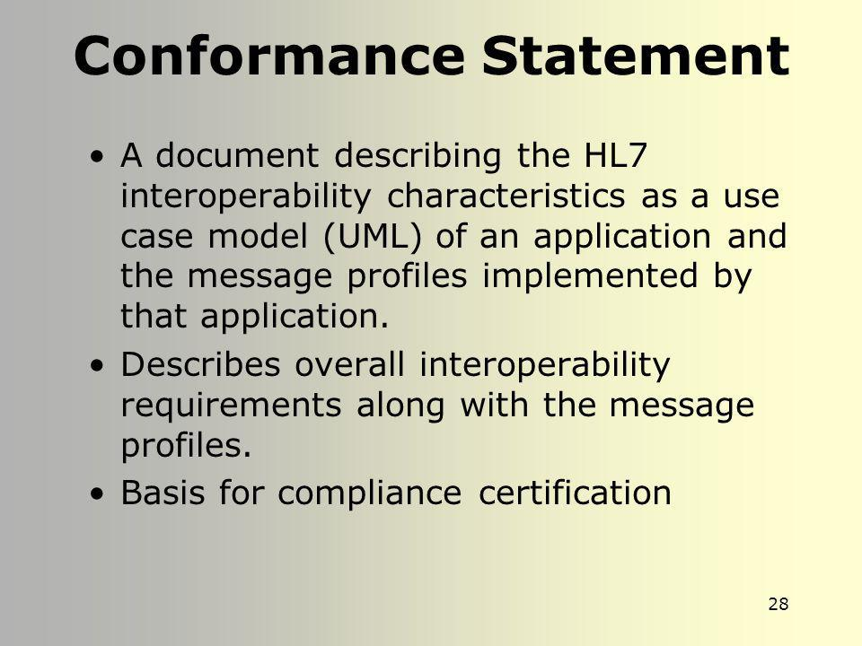 27 Purpose of OID Unique identifier Registration –For cataloging message profiles registered by HL7 Used to specify the conformance statement of an ap
