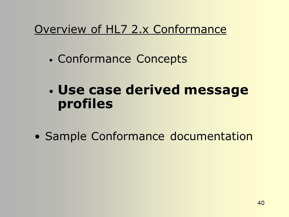 39 Conformance Support in the HL7 Standard Version 2.4, 2.5 –MSH:21 –Profile identifier –OID data type for ASN.1 identifiers –Conformance Chapter –Imp