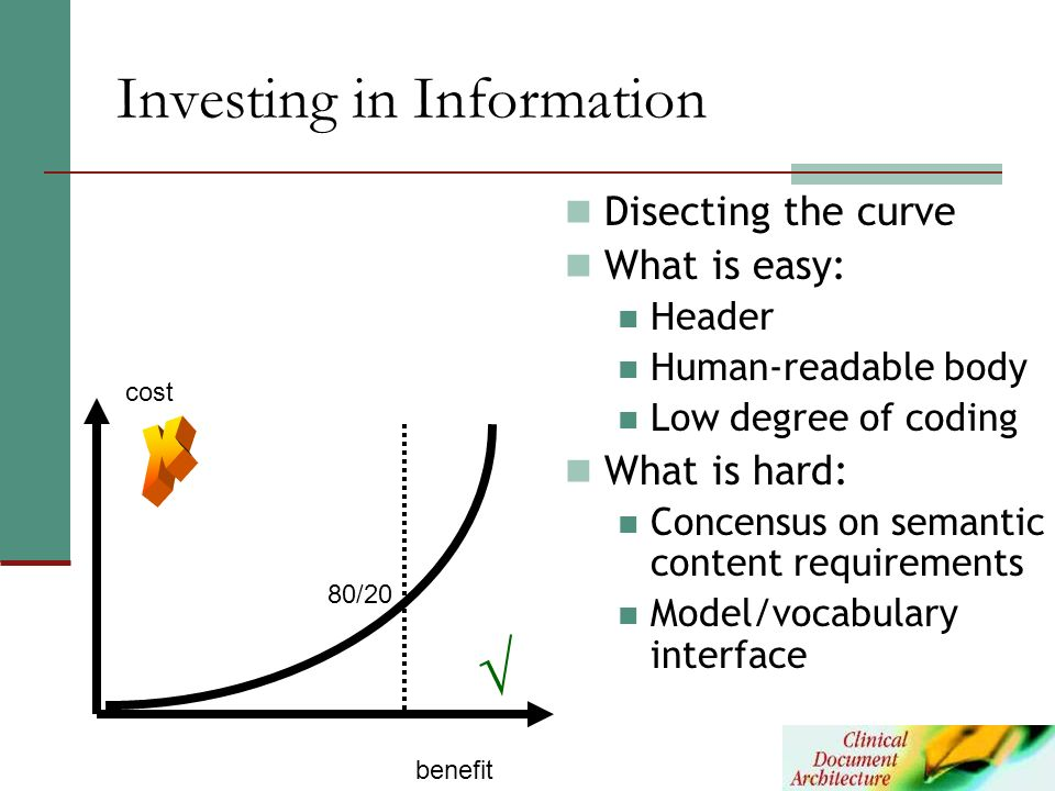 Investing in Information cost benefit 80/20 Disecting the curve What is easy: Header Human-readable body Low degree of coding What is hard: Concensus
