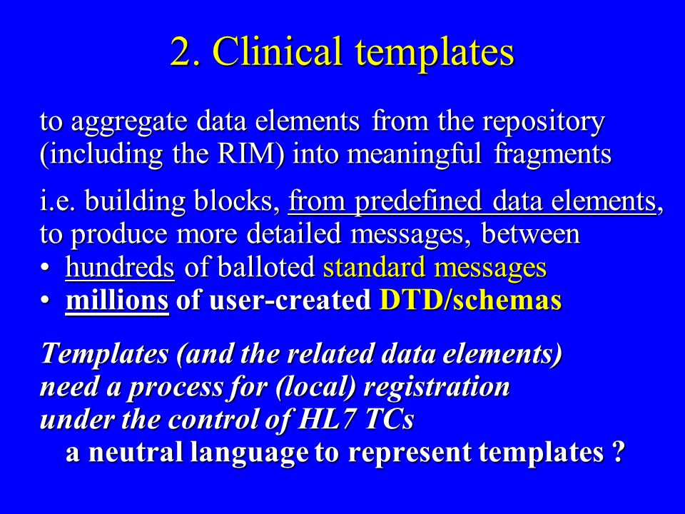 2. Clinical templates to aggregate data elements from the repository (including the RIM) into meaningful fragments i.e. building blocks, from predefin