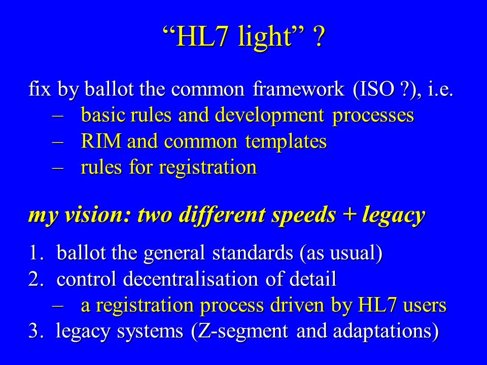 HL7 light . fix by ballot the common framework (ISO ), i.e.