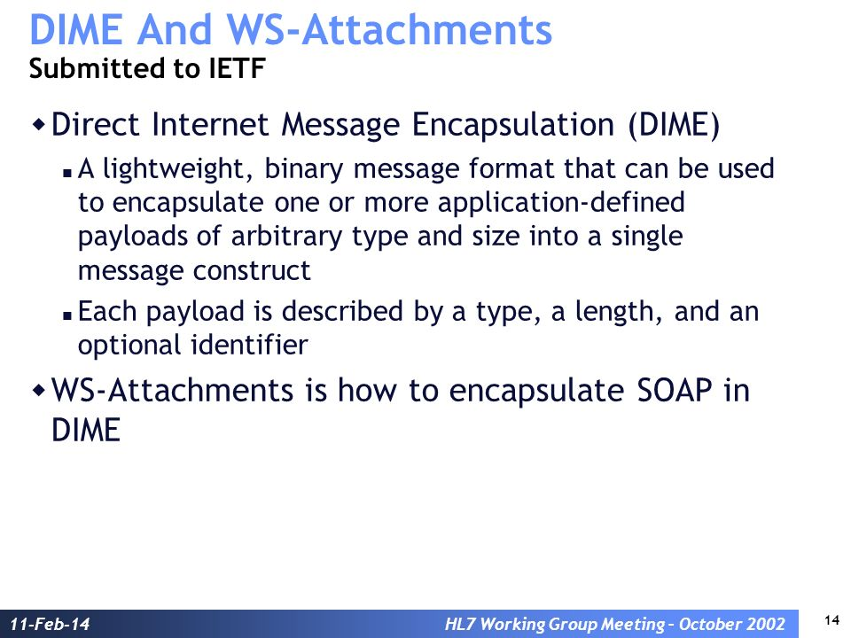 14 11-Feb-14HL7 Working Group Meeting – October 2002 DIME And WS-Attachments Submitted to IETF Direct Internet Message Encapsulation (DIME) A lightweight, binary message format that can be used to encapsulate one or more application-defined payloads of arbitrary type and size into a single message construct Each payload is described by a type, a length, and an optional identifier WS-Attachments is how to encapsulate SOAP in DIME
