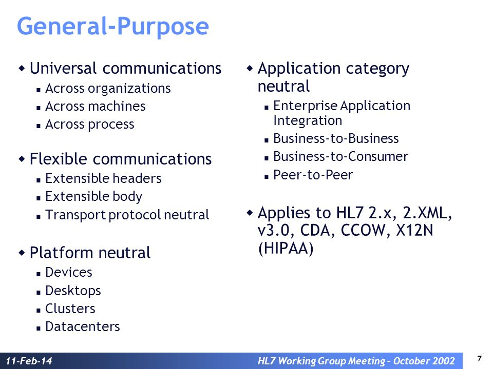 7 11-Feb-14HL7 Working Group Meeting – October 2002 General-Purpose Universal communications Across organizations Across machines Across process Flexi
