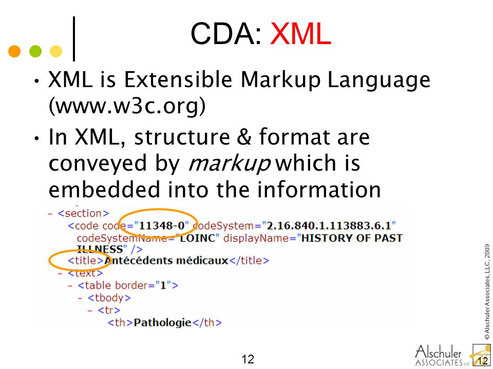 © Alschuler Associates, LLC, 2009 12 XML is Extensible Markup Language (www.w3c.org) In XML, structure & format are conveyed by markup which is embedd