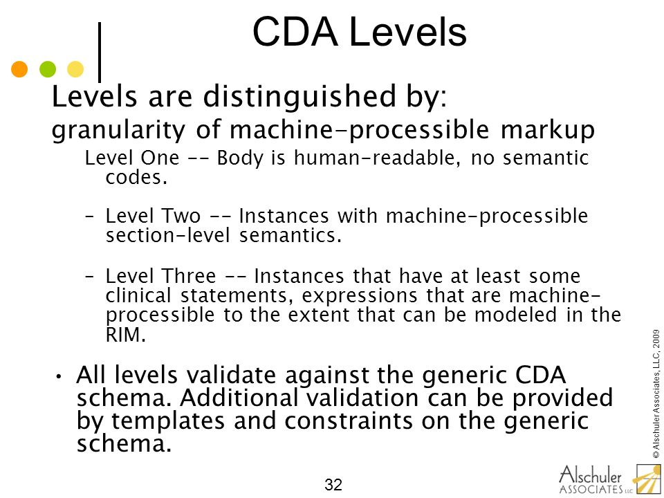 © Alschuler Associates, LLC, 2009 32 CDA Levels Levels are distinguished by: granularity of machine-processible markup Level One -- Body is human-read