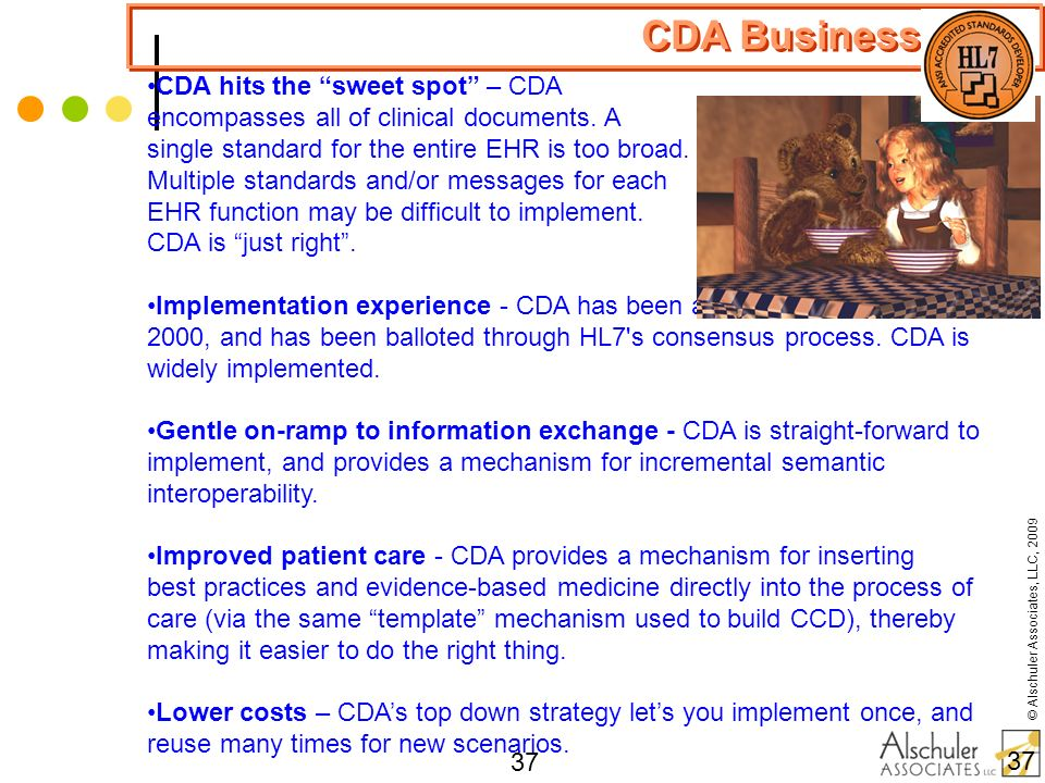 © Alschuler Associates, LLC, 2009 37 CDA Business Case CDA hits the sweet spot – CDA encompasses all of clinical documents. A single standard for the