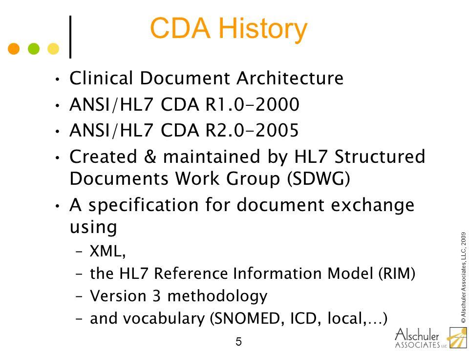 © Alschuler Associates, LLC, 2009 46 The Simplest CDA Enter minimal metadata Point to document body Inherit patient context