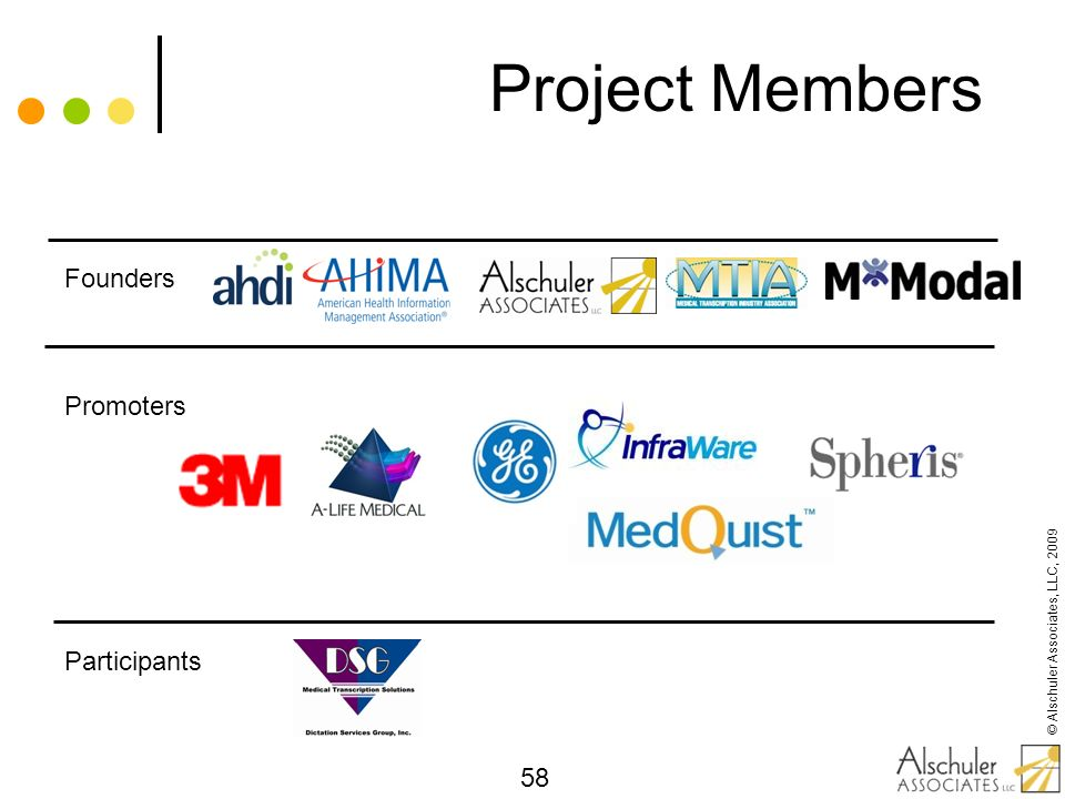 © Alschuler Associates, LLC, 2009 58 Project Members Founders Promoters Participants