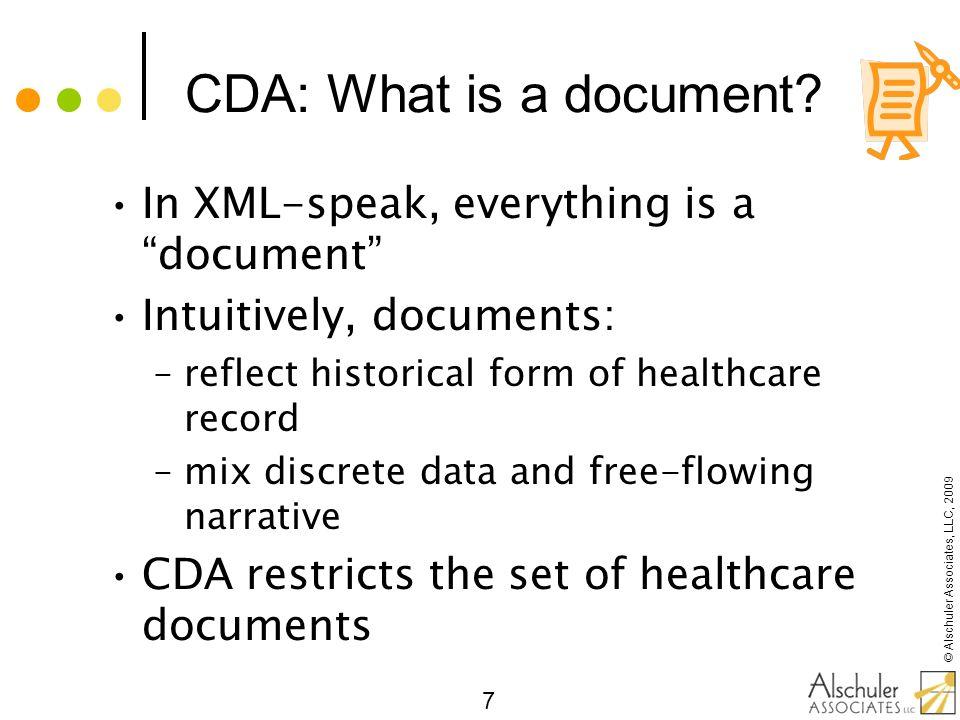 © Alschuler Associates, LLC, 2009 28 CDA: Incremental Semantic Interoperability Standard HL7 metadata Simple XML for point of care human readability RIM semantics for reusable computability (semantic interoperability)