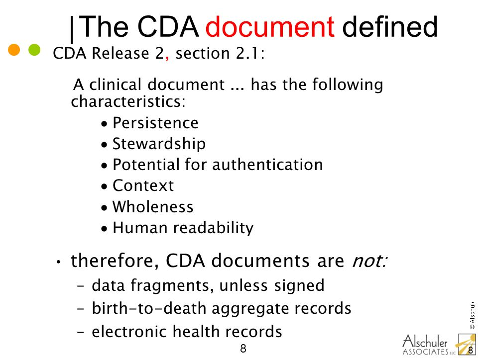 © Alschuler Associates, LLC, 2009 59 CDA for Collaborative Care Health Story: –Consult Report, Operative Note –Diagnostic Imaging Reports with DICOM Continua Health Alliance: Personal Health Monitoring CMS Minimum Data Set Plan to Plan Personal Health Record IHE Profiles: variants on H&P, many additional types