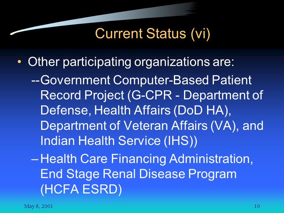 May 8, 200110 Other participating organizations are: --Government Computer-Based Patient Record Project (G-CPR - Department of Defense, Health Affairs (DoD HA), Department of Veteran Affairs (VA), and Indian Health Service (IHS)) –Health Care Financing Administration, End Stage Renal Disease Program (HCFA ESRD) Current Status (vi)