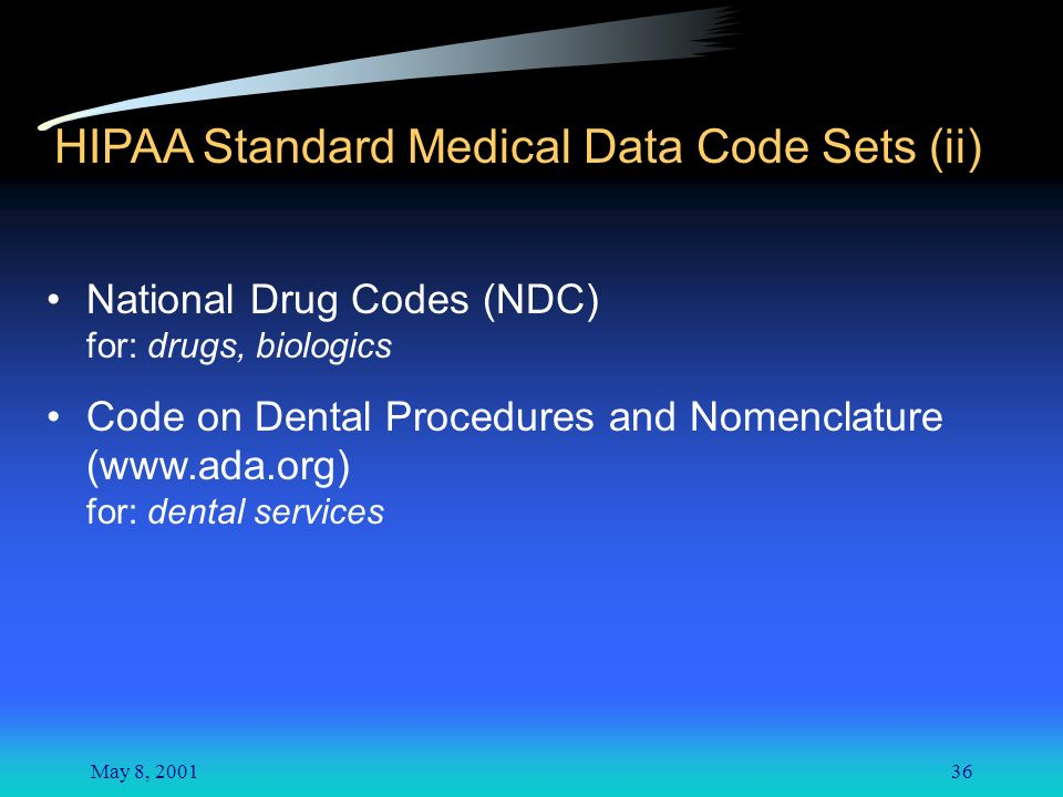 May 8, HIPAA Standard Medical Data Code Sets (ii) National Drug Codes (NDC) for: drugs, biologics Code on Dental Procedures and Nomenclature (  for: dental services