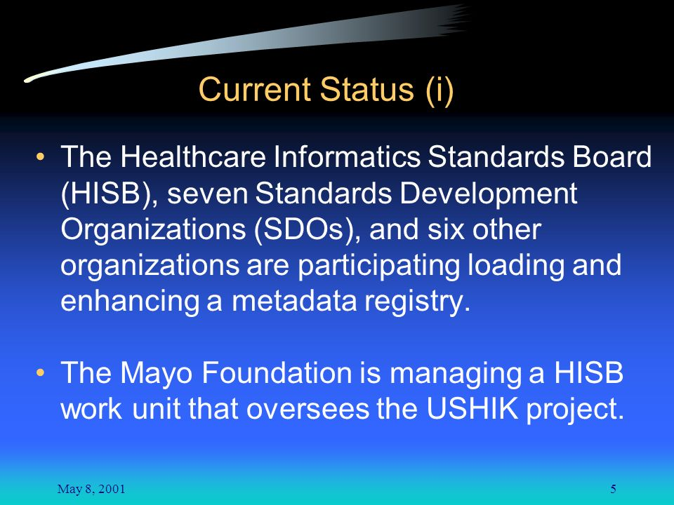 May 8, 20015 Current Status (i) The Healthcare Informatics Standards Board (HISB), seven Standards Development Organizations (SDOs), and six other organizations are participating loading and enhancing a metadata registry.