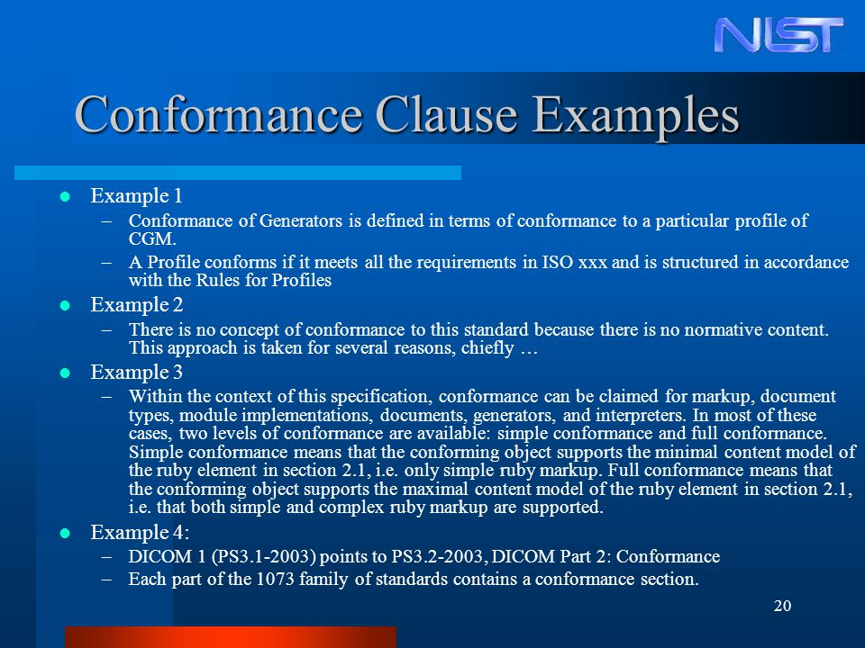 20 Conformance Clause Examples Example 1 –Conformance of Generators is defined in terms of conformance to a particular profile of CGM. –A Profile conf