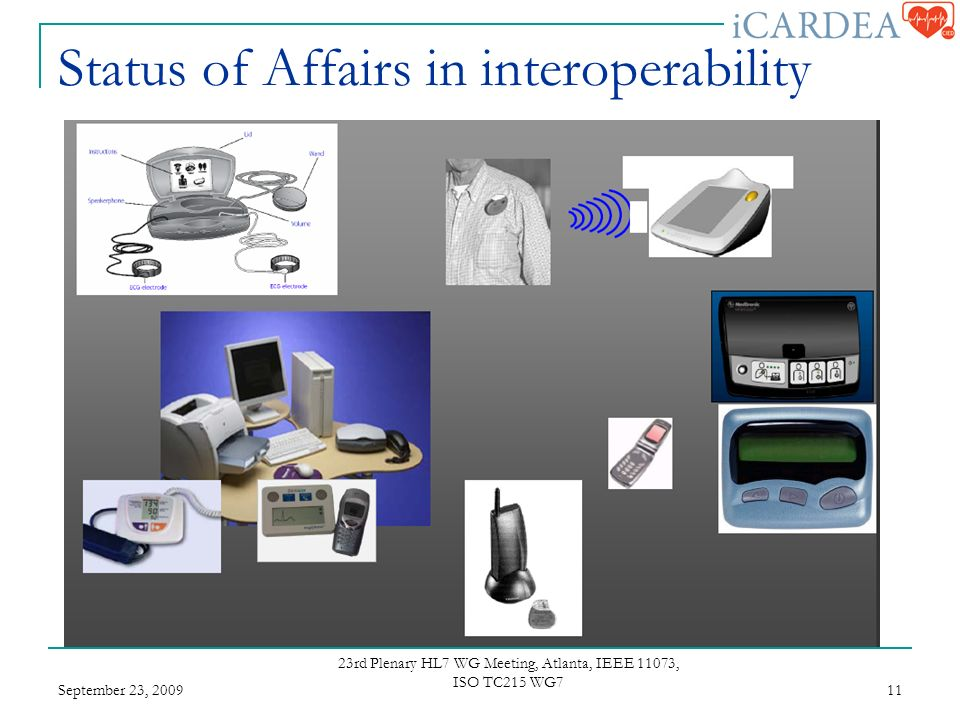 Status of Affairs in interoperability September 23, rd Plenary HL7 WG Meeting, Atlanta, IEEE 11073, ISO TC215 WG7 11
