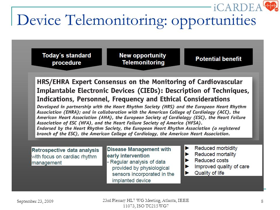 Device Telemonitoring: opportunities September 23, rd Plenary HL7 WG Meeting, Atlanta, IEEE 11073, ISO TC215 WG7 8