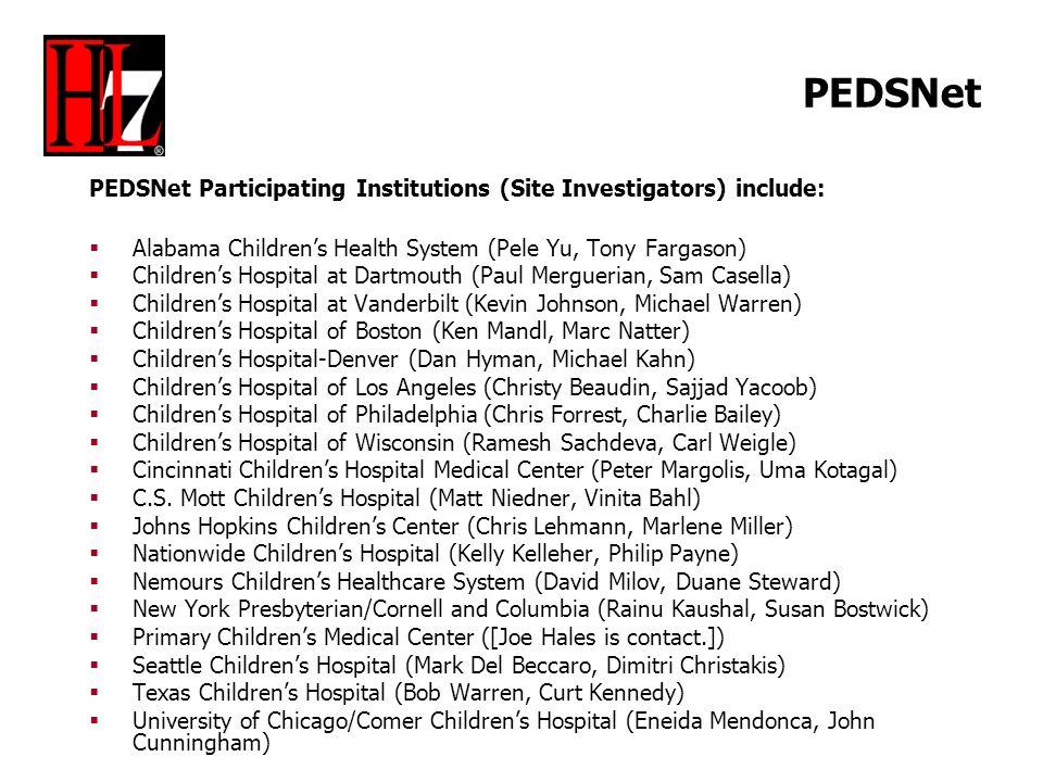 PEDSNet PEDSNet Participating Institutions (Site Investigators) include: Alabama Childrens Health System (Pele Yu, Tony Fargason) Childrens Hospital a