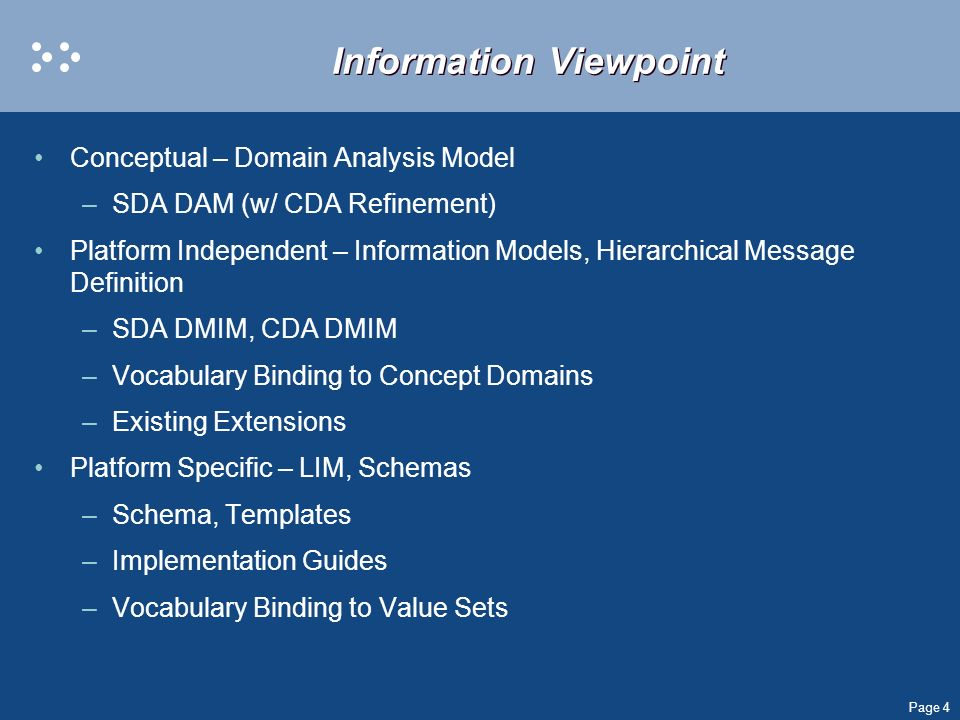 Page 4 Information Viewpoint Conceptual – Domain Analysis Model –SDA DAM (w/ CDA Refinement) Platform Independent – Information Models, Hierarchical M