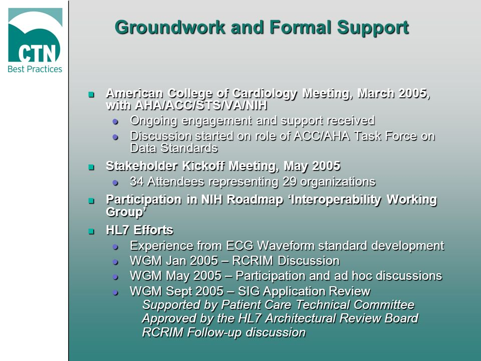 Groundwork and Formal Support n American College of Cardiology Meeting, March 2005, with AHA/ACC/STS/VA/NIH l Ongoing engagement and support received l Discussion started on role of ACC/AHA Task Force on Data Standards n Stakeholder Kickoff Meeting, May 2005 l 34 Attendees representing 29 organizations n Participation in NIH Roadmap Interoperability Working Group n HL7 Efforts l Experience from ECG Waveform standard development l WGM Jan 2005 – RCRIM Discussion l WGM May 2005 – Participation and ad hoc discussions l WGM Sept 2005 – SIG Application Review Supported by Patient Care Technical Committee Approved by the HL7 Architectural Review Board RCRIM Follow-up discussion