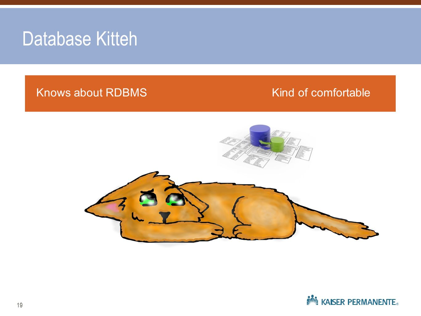 19 Knows about RDBMSKind of comfortable Database Kitteh