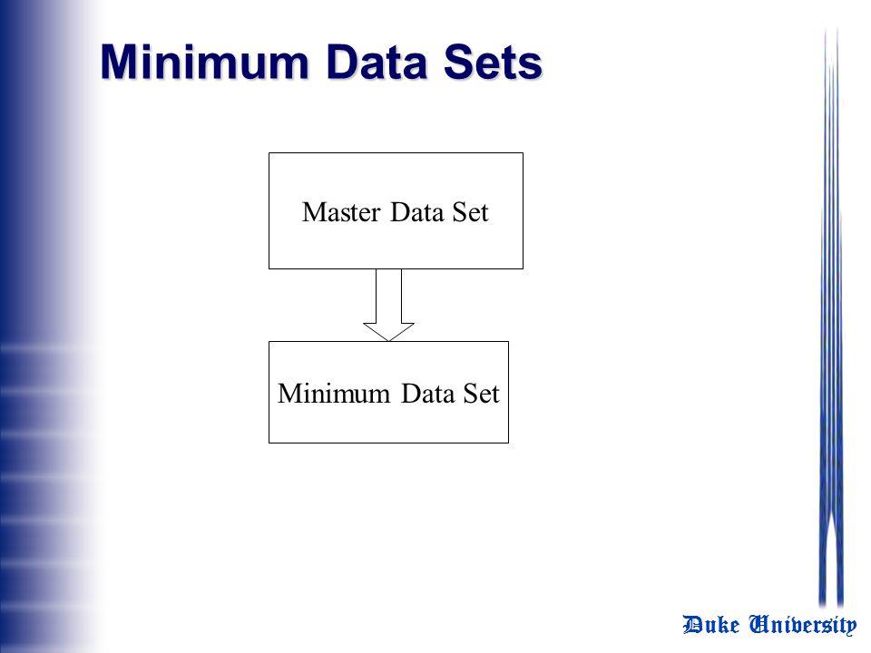 Duke University Minimum Data Sets Master Data Set Minimum Data Set