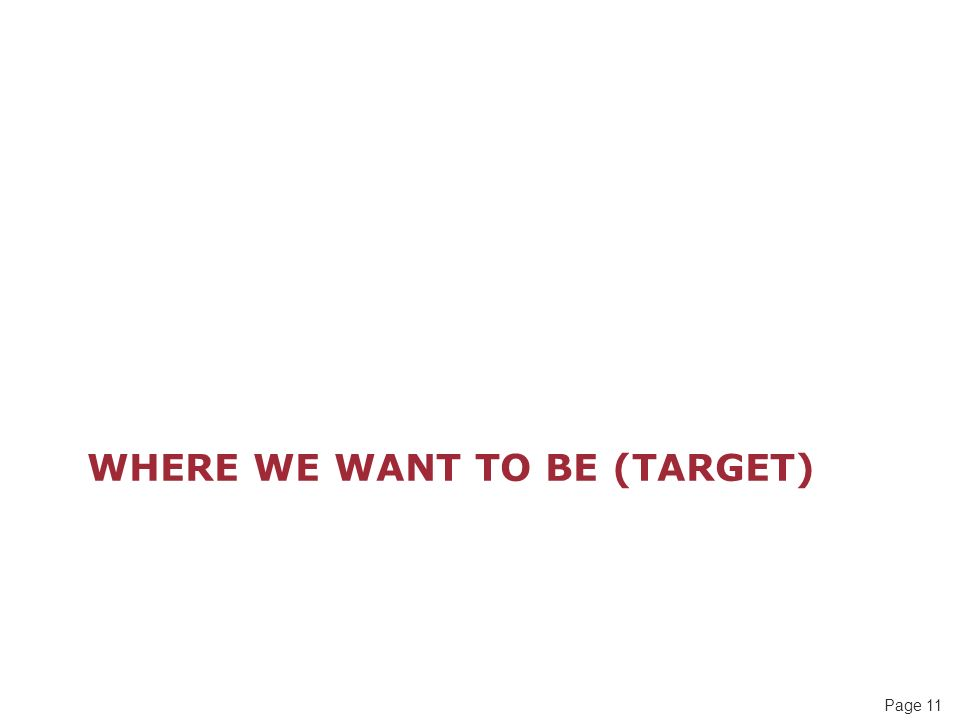 Page 11 WHERE WE WANT TO BE (TARGET)