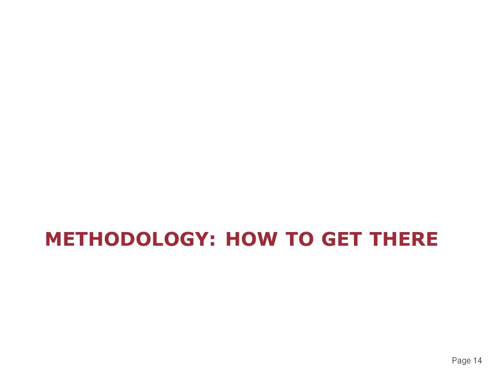 Page 14 METHODOLOGY: HOW TO GET THERE