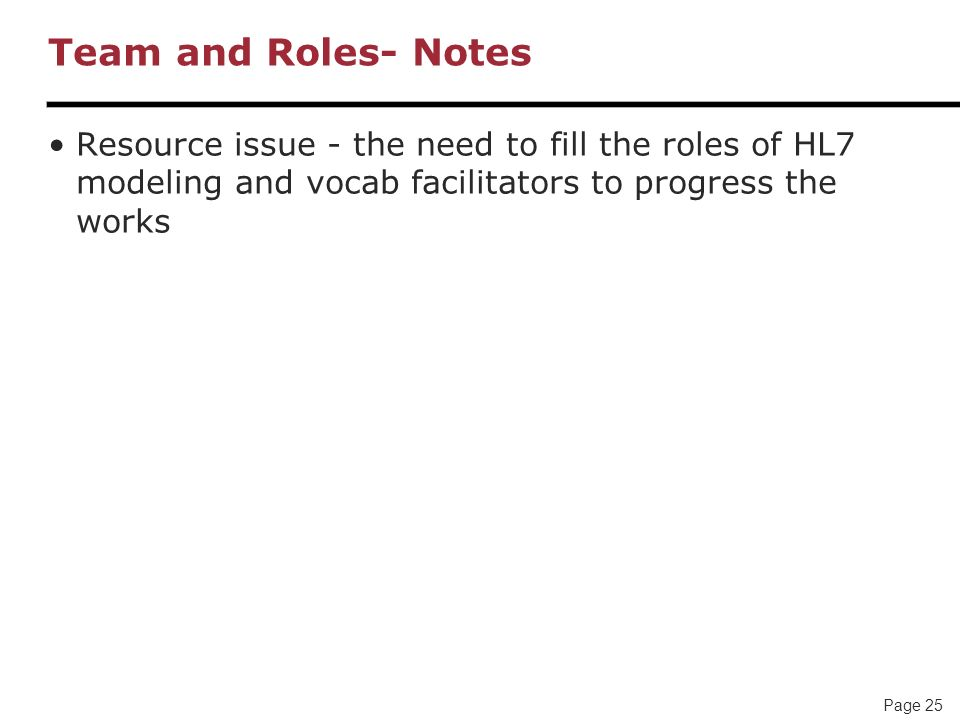 Page 25 Team and Roles- Notes Resource issue - the need to fill the roles of HL7 modeling and vocab facilitators to progress the works