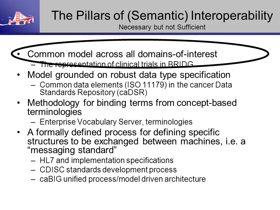 The Pillars of (Semantic) Interoperability Necessary but not Sufficient Common model across all domains-of-interest –The representation of clinical tr