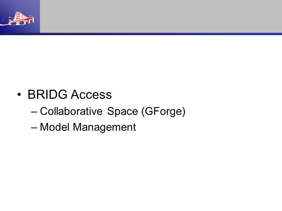 BRIDG Access –Collaborative Space (GForge) –Model Management