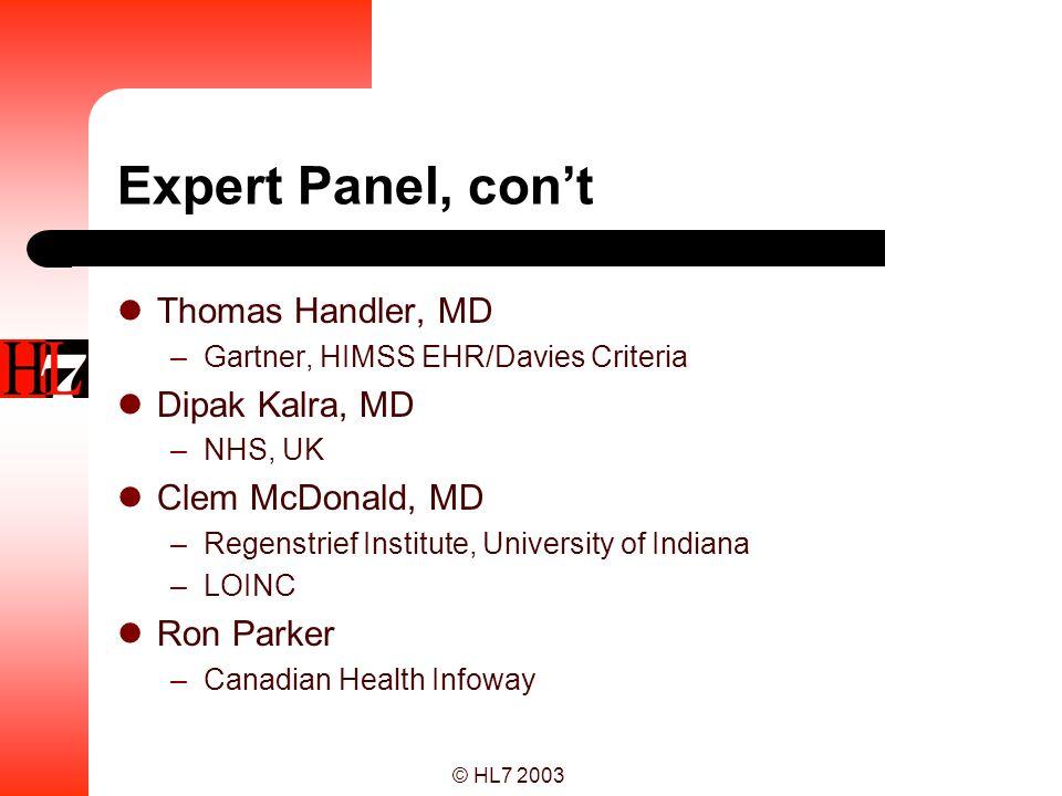 © HL7 2003 Expert Panel, cont Paul Tang, MD –Stanford University, IOM Charlene Underwood –Siemens, HIMSS EHR/Davies Criteria