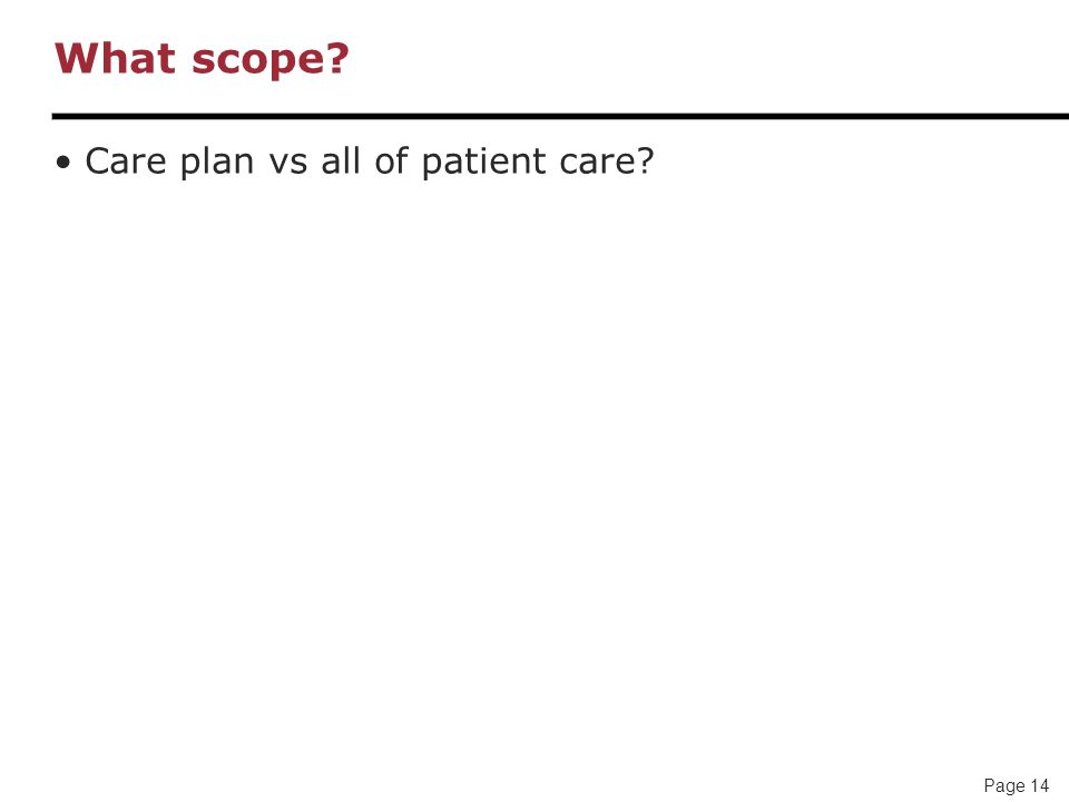 Page 14 What scope? Care plan vs all of patient care?