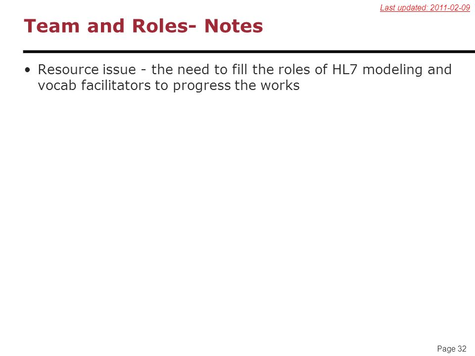 Page 32 Team and Roles- Notes Resource issue - the need to fill the roles of HL7 modeling and vocab facilitators to progress the works Last updated: 2011-02-09
