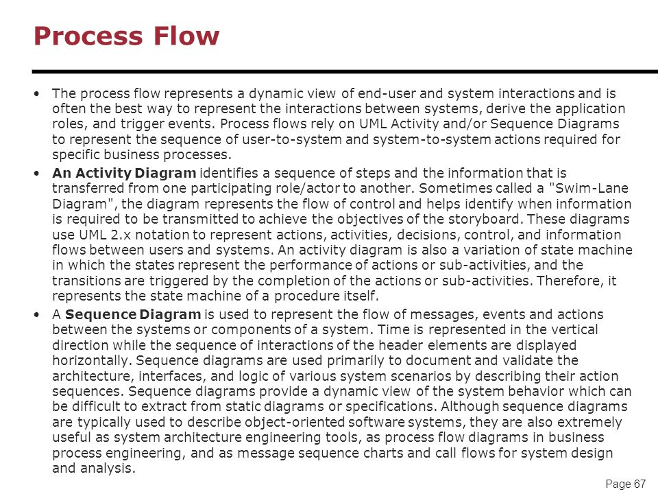 Page 67 Process Flow The process flow represents a dynamic view of end-user and system interactions and is often the best way to represent the interac
