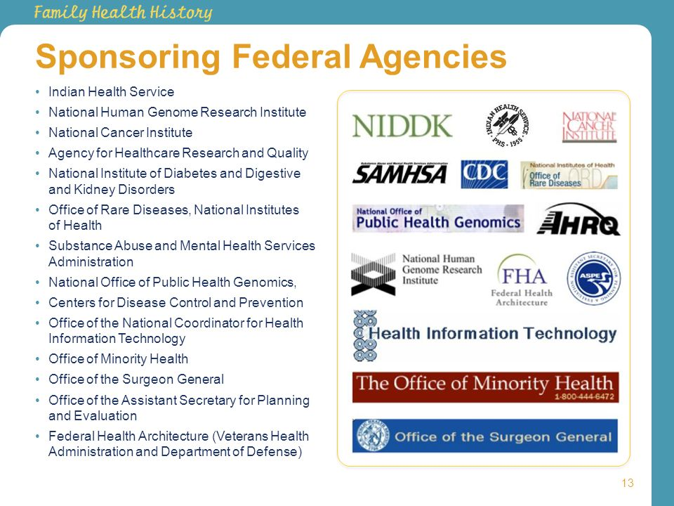 Sponsoring Federal Agencies 13 Indian Health Service National Human Genome Research Institute National Cancer Institute Agency for Healthcare Research
