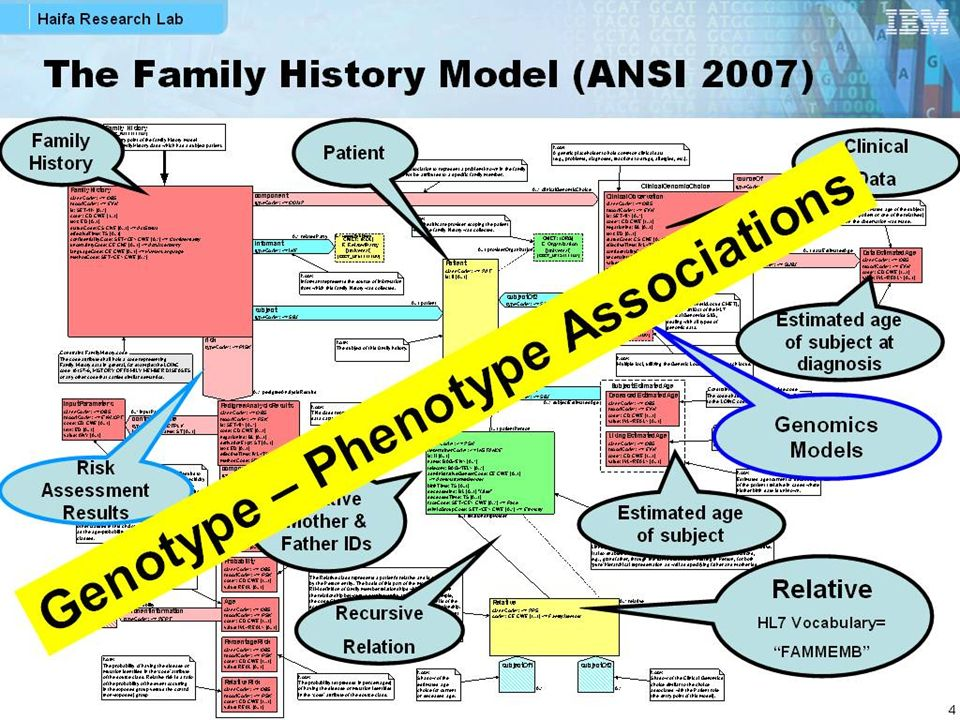 The Family History Model (ANSI 2007) Genomics Models Patient Relative HL7 Vocabulary= FAMMEMB Recursive Relation Clinical Data Family History Risk Ass