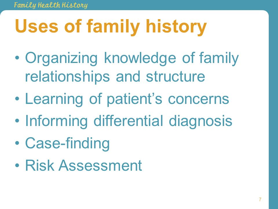 Uses of family history Organizing knowledge of family relationships and structure Learning of patients concerns Informing differential diagnosis Case-