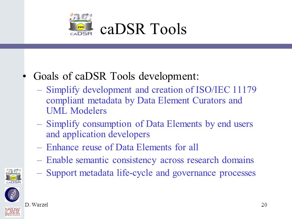 D. Warzel20 caDSR Tools Goals of caDSR Tools development: –Simplify development and creation of ISO/IEC 11179 compliant metadata by Data Element Curat